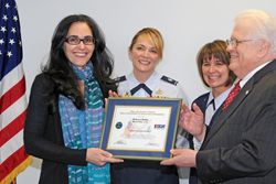 Marstel-Day CEO and President Rebecca R. Rubin receives the Patriotic Employer award
