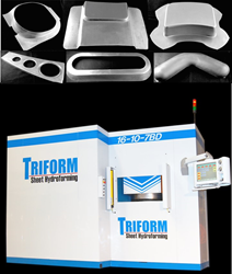 The Triform 16-10-7BD is a deep draw sheet hydroforming press and boasts a 16 inch forming area with 10,000PSI and the ability to draw parts up to 7 inches deep.