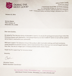Salvation Army Thank You Letter to ServiceMaster NCR