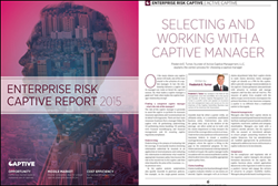 "Frederick E. Turner is featured in Captive Reviews January 2015 ""Enterprise Risk Captive Report"" publication, which provides insight into the middle market captive solutions."