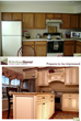 Before and After shot of a drab, standard kitchen changes to a custom, luxe-looking kitchen with cream cabinets,