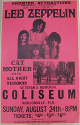 Original 1969 Led Zeppelin Jacksonville Coliseum Boxing Style Concert Poster
