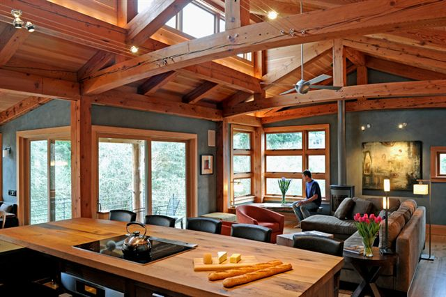 Reclaimed timbers find new life as new energy works timber for Timber frame home interiors