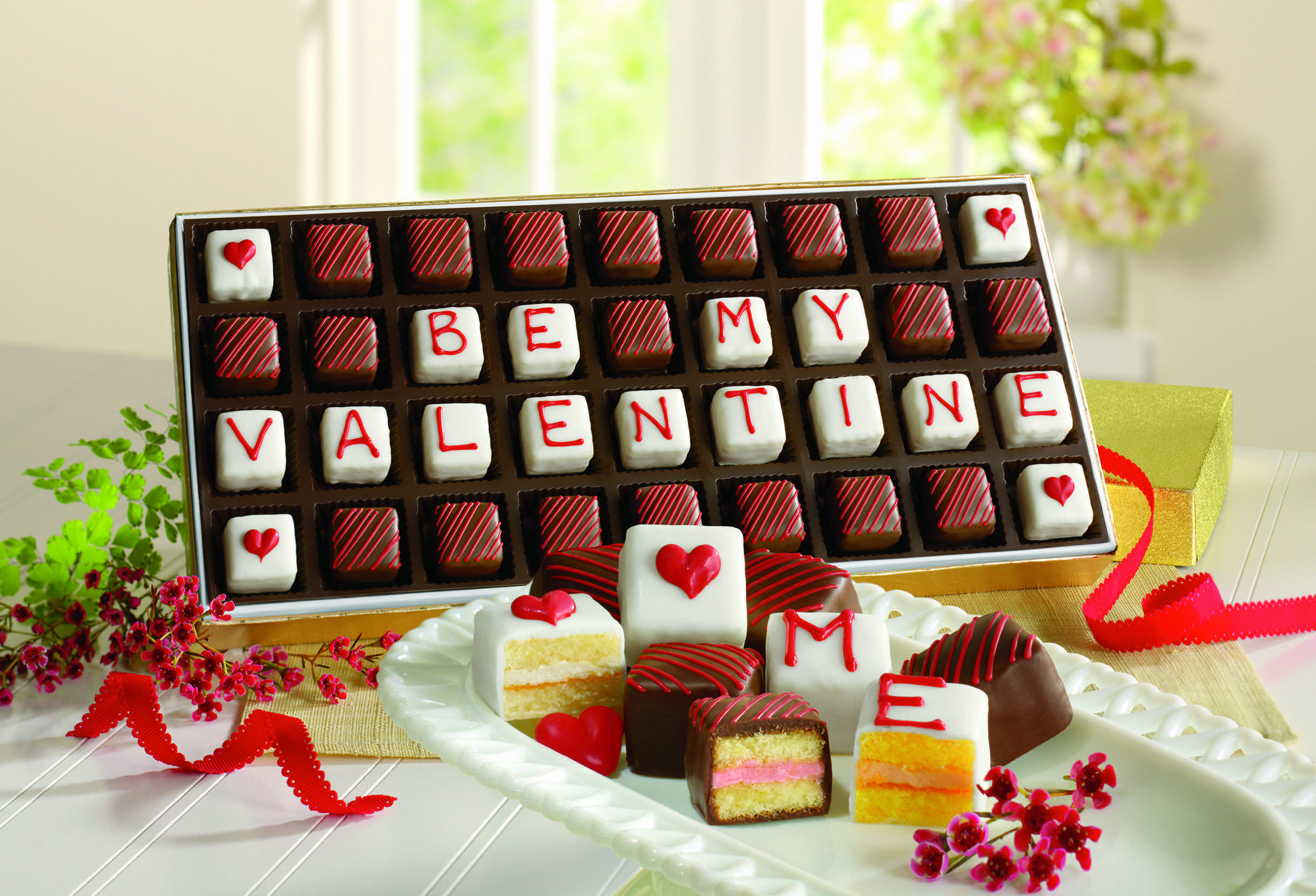 A Clever Way To Ask Someone To Be Your Valentine.Chocolate Petits Fours Are  A Specialty Of The Swiss Colony.