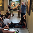John O'Hern speaking at EVOKE Contemporary to students from New Mexico School for the Arts about curation
