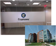Photos of the entry to the Cryptzone headquarters and the building