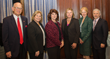Manhattanville College President Dr. Jon Strauss; Women's Leadership Institute Director Kathy Meany; event speakers Marcia DeWitt, Janet Hasson, and Marsha Gordon; and Dr. Anthony Davidson, dean.