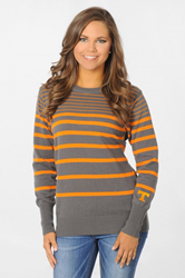 Tennessee Volunteers Orange and Grey Gradient Striped Sweater