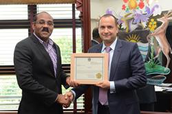Hon. Gaston Browne, Prime Minister of Antigua & Barbuda (left) with Mr. Armand Arton (right)
