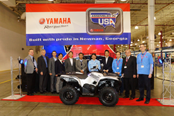 Yamaha celebration at Newnan, Georgia, factory recognizing 3 millionth vehicle.