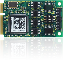 PCI Express Mini Card, mPCIe, embedded systems, small form factor, rs-232/422/485, industrial operating temperature, software selectable,health, medical, systems, -40°C to +85°C