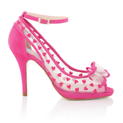 Retro Pink Wedding Shoes by Charlotte Mills
