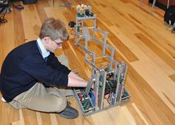 Haverford Robotics Room Hardwood Floor Image