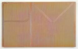 R.H. Quaytman, PM, 2013, Oil, silkscreen ink, and gesso on wood, 20 х 32.38 in., Est. 100,000–140,000 USD