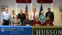 Husson University is located in Bangor, Westbrook and Presque Isle, Maine.  WCCC is located in Calais, Maine.