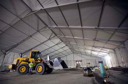 American Pavilion Installs Clear Span Tent Amidst Subzero Temperatures