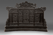 Chinese Throne Screen lacquered wood, tripartite construction