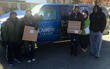 """Cabrini College students, in collaboration with the non-profit The Joy of Sox®, loaded four vans to deliver 7,340 pairs of new socks to homeless shelters in the Philadelphia region on Valentine's Day, as part of """"Socks for the Homeless Day"""" in Pennsylvani"""
