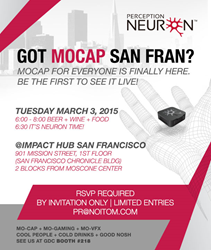 Perception Neuron, the World's Smallest, Most Versatile and Affordable Motion Capture System for Virtual Reality and Gaming Heads to the 2015 Game Developers Conference