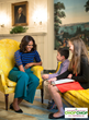 First Lady Michelle Obama with Kid Reporters Will Sprague and Olivia Harvey, in the Diplomatic Reception Room at The White House