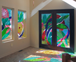 "Gong Glass Works ""Fermata Rapture"", private residence. Color cast brings transient art into the home."