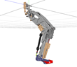 Byrun, the walking, jumping, hopping robot, built using MapleSim...