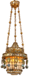 Tiffany Studios Moorish Style Hall Lantern. The lamp has a tapered cylindrical form, a fiery amber, gold & opaque glass form the geometric fish scale body, 12 point feathered crown, domical top and lower door; the body has a border consisting of 25 amber