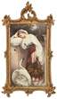 Lot 281: KPM hand-painted porcelain plaque with a scene of a lovely woman leaning against a wall.