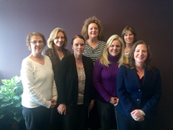 The Title Alliance of Maine Team From Left to Right. Front Row: Betty Lane, Melissa Perkins, Amy Devine, Kelly J. Stevens, Esq. Back Row: Joyce Sobus, Tracy Elliott and Corey Bedell