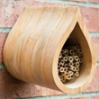 This mason bee house can hold enough bees to pollinate a backyard garden
