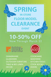Didriks and Local Root In-Store Spring Floor Model Clearance Event