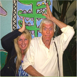 Actor Dick Van Dyke and Sea SeaSave Foundation Director Georgienne Bradley show their support for sharks.