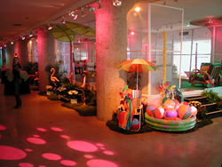 The New Mart exhibit space decorated for a videogame event