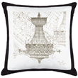 Chandelier Print Custom Pillow with Black Canvas