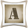 Monogram Pillow with Beige Canvas Back