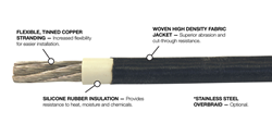 Flexible, Tinned Copper Stranding; Woven High-Density Jacket; Silicone Rubber Insulation