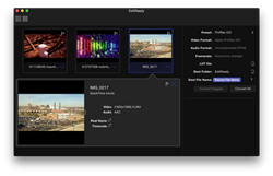 EditReady's modern UI includes thumbnails, live preview, and metadata editing