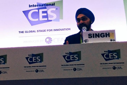 Manpreet Singh speaking at CES International in January 2015