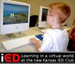"Kansas student learning in a virtual world at the state's new Immersive Education ""Creative Computing"" Club"