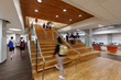 The central staircase doubles as an additional social learning space in the school.