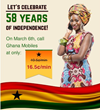 Special Independence Day offer: 21% off on international calls to Ghana mobiles, with TelephoneGhana.com