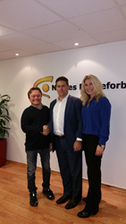 Photo of Atle Lunde, chairman of NABP, Kurt Mueffelman CEO, and Therese Barun of Cryptzone