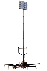 Fifty Foot Pneumatic Light Mast on 21' Trailer with Sixteen LED Light Heads