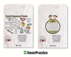 SmartPractice introduces full-color Semi-custom and Paper Supply Bags for dental practices. Pictured are two original Paper Supply Bag designs by SmartPractice that feature activities for children.