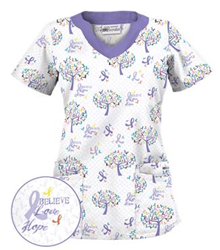 """Uniform Advantage Designs """"Tree of Hope White"""" Scrub Print in support of Pancreatic Cancer"""