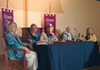 Buchanan (left) leads a panel discussion on issues of aging with Jane McGarry, Dorothy Roberts, Ed Gray, and Ann Holmes.