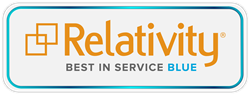 kCura Relativity Blue-level Best in Service logo