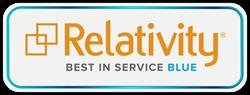 kCura Relativity Blue-level Best in Service logo