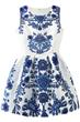 Floral Dress, Jacquard Dress, Pleated Dress,  White Dress, Skater Dress, Tank Dress