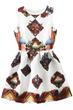 Vintage Dress, Jacquard Dress, Pleated Dress, White Dress, Skater Dress, Tank Dress